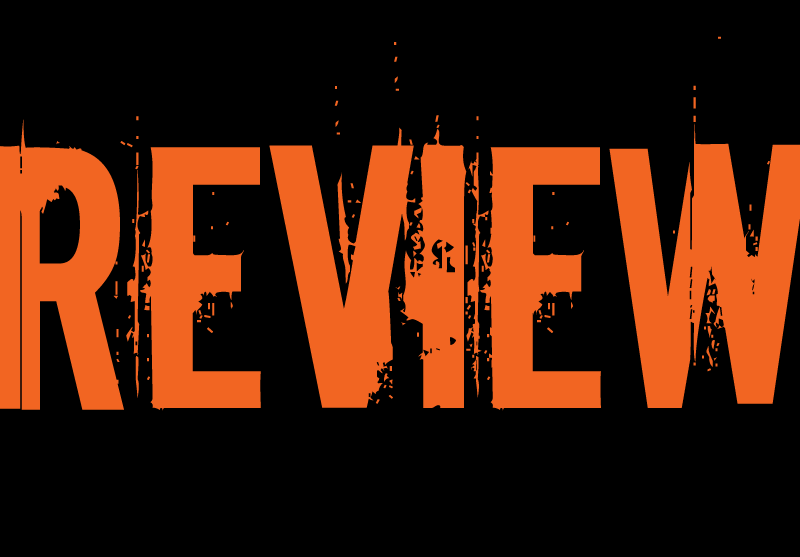 "orange all-caps text of the word ""review"" on a black background"